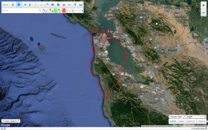 Google Map View of San Francisco Helicopter Tour